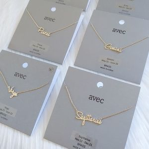 Dainty Zodiac Name Necklace in Gold Color